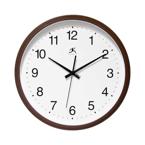 Walnut Finish Brown Simple 14 inch Wall Clock by Infinity Instruments