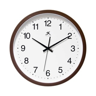 Infinity Instruments Walnut Finish Aluminum, Glass, and Resin 14-inch Round Indoor Wall Clock