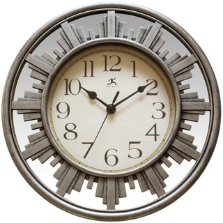 Infinity Instruments Skyline Round Indoor Pewter Aluminum, Glass, Resin 11.75-inch Wall Clock