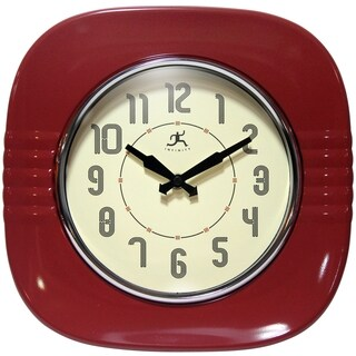 Infinity Instruments Red Aluminum Classic Diner Wall Clock