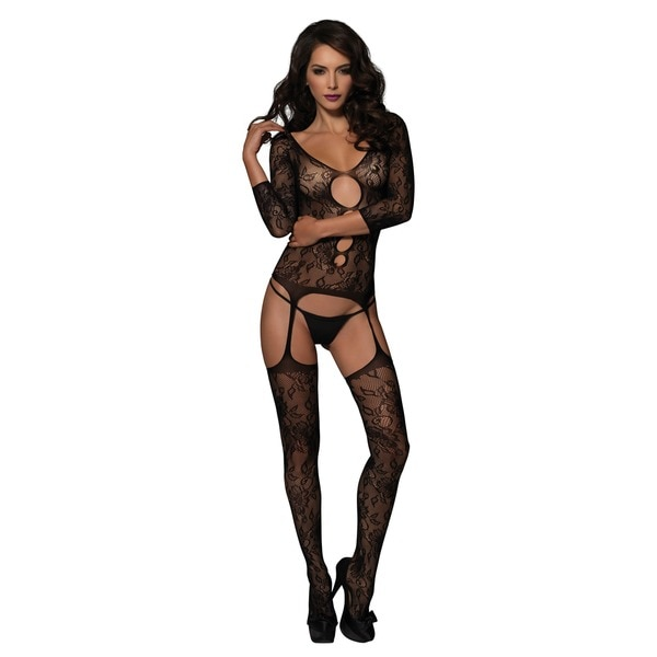 4b0728bc6 Leg Avenue Women  x27 s Black Floral Lace Suspender Bodystocking with  Keyhole ...