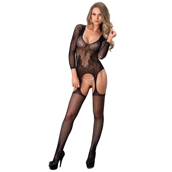 3182d3e15f5 Leg Avenue Black Spandex Long-sleeved Ring Net and Floral Lace Suspender  Bodystocking
