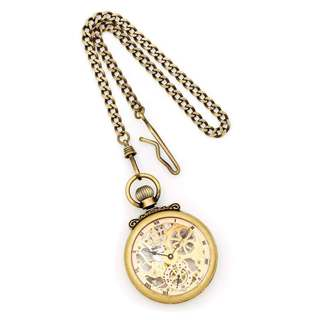 Charles Hubert Antique Gold Finish Brass Skeleton Pocket Watch