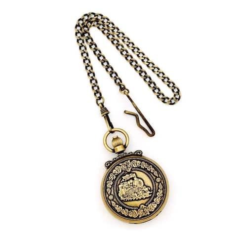 Charles Hubert Antique Gold Finish Steam Engine Pocket Watch by Versil - Yellow