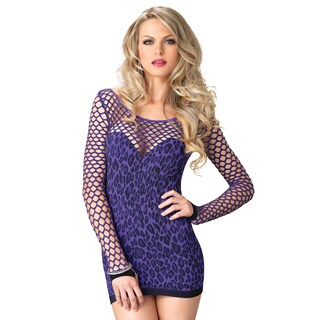 Leg Avenue Purple Nylon-blend Seamless Leopard Mini Dress