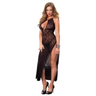 Leg Avenue Women's Black Nylon Swirl Lace-up Front Long Dress