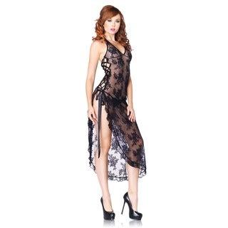 Leg Avenue Black Nylon and Lace Long Halter Gown (2-piece Set)