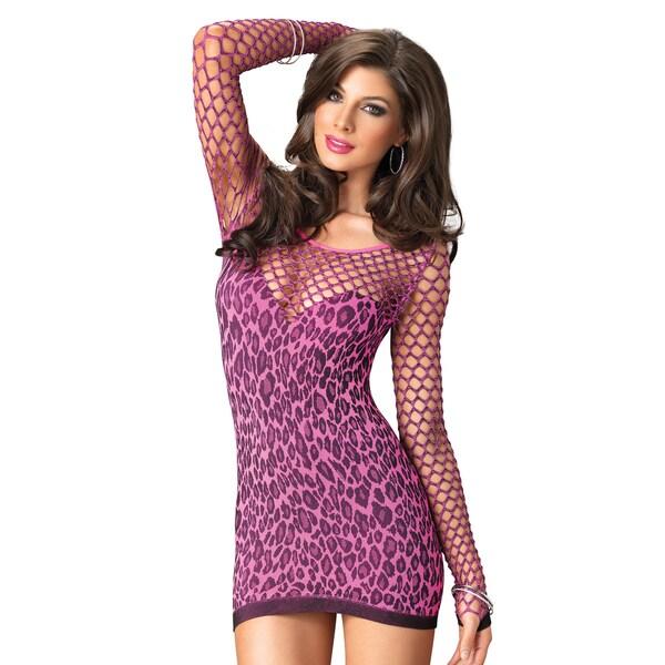 bdf0e94678f Leg Avenue Women  x27 s Leopard-print Seamless Mini Dress with Diamond Net