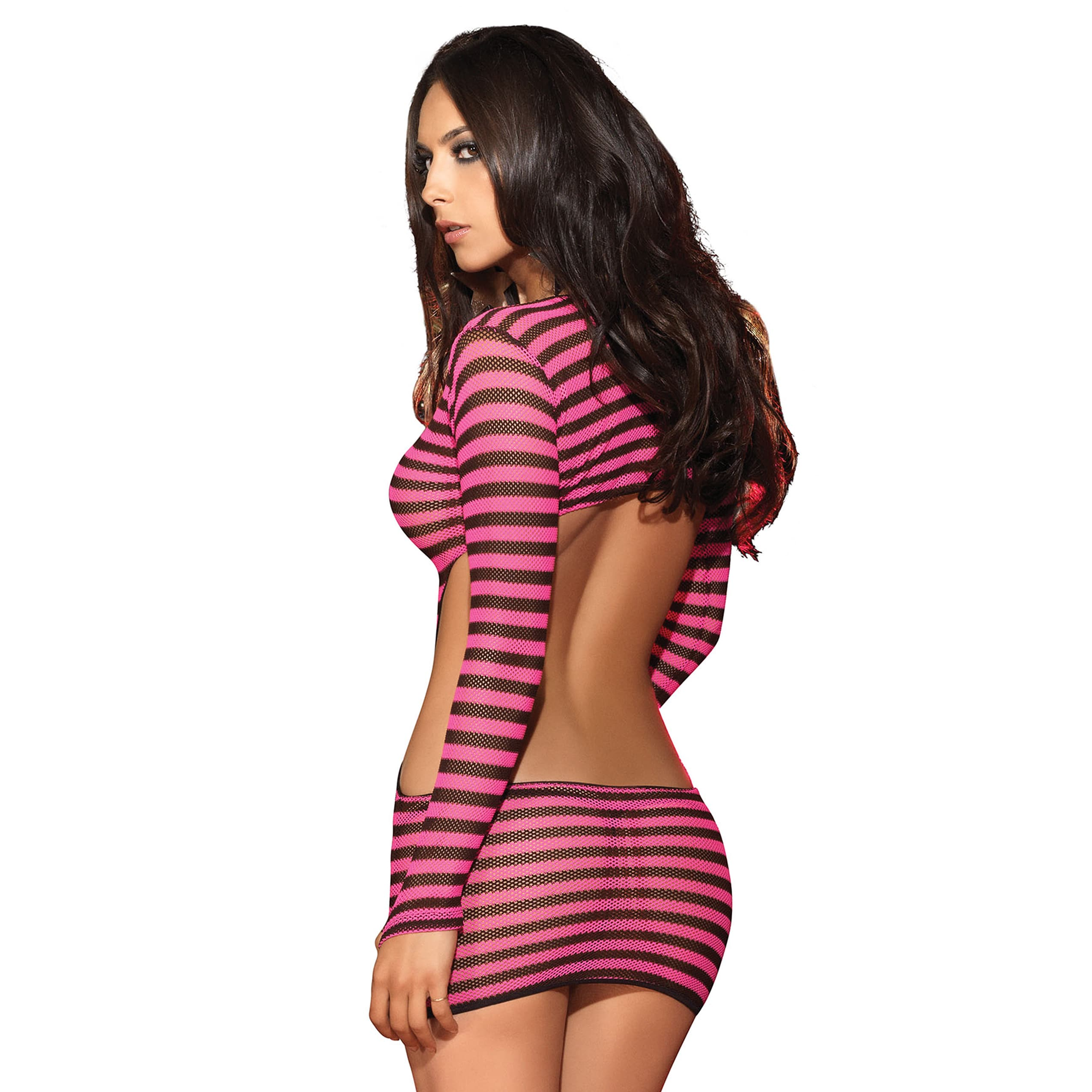 Leg Avenue Womens Fishnet Mini Dress