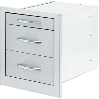 Stainless Steel Wide 3-Drawer Storage Unit for Cal Flame Grills