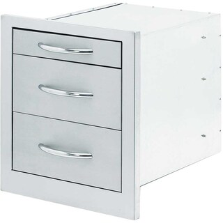 Cal Flame Stainless Steel Wide 3-Drawer Storage Unit