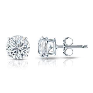 Auriya GIA Certified Platinum 4-Prong Basket 4.00 ct. TDW (I-J, VVS1-VVS2) Push Back Round Diamond Stud Earrings