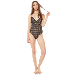 Somedays Women's Lovin Lighthouse Black Lace One-piece Swimsuit