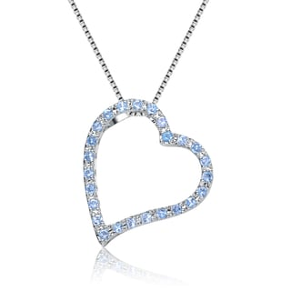 Collette Z Sterling Silver Cubic Zirconia Heart Frame Necklace