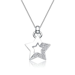 Collette Z Sterling Silver Cubic Zirconia Dipped Star Necklace