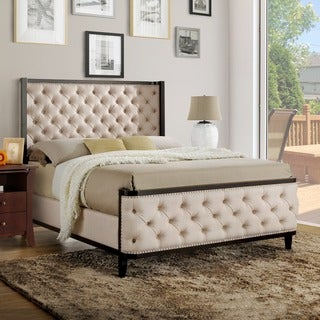 Furniture of America Vist Contemporary Ivory Linen Fabric Wingback Bed