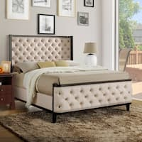 Furniture of America Marisa Elegant Two-tone Wingback Bed