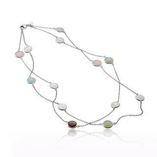 Collette Z Sterling Silver Rhodium Plated Round Multi Color Quartz Necklace