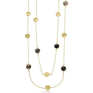Collette Z Sterling Silver Gold Plated Round Smokey Quartz Necklace