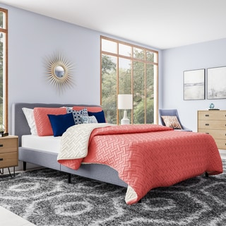 Simple Living Lido Mid-Century Upholstered Queen Bed