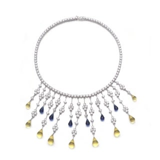 Collette Z C.Z. Sterling Silver Rhodium Plated Sapphire And Lemon Teardrop Necklace