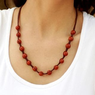 Handcrafted Cotton 'Blissful Courage' Jasper Shambhala Style Necklace (India)