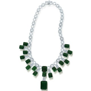 Collette Z C.Z. Sterling Silver Rhodium Plated Heavy Emerald Necklace