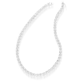 Collette Z C.Z. Sterling Silver Rhodium Plated 5mm Round Tennis Necklace