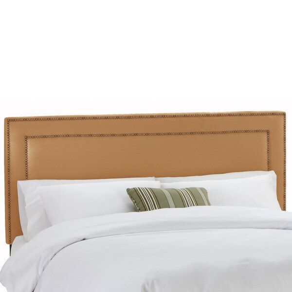 Shop Nailhead Trim Khaki Upholstered Headboard- Skyline