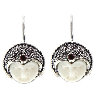 Handmade Sterling Silver Bone 'Royal Lady' Garnet Earrings (Indonesia)