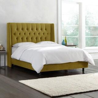 Skyline Furniture Tufted Mystere Velvet Wingback Bed