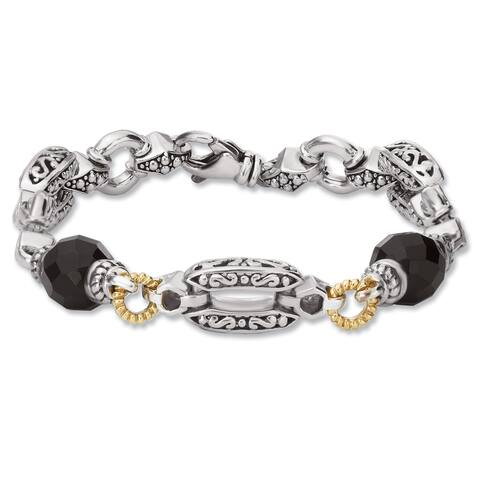 Avanti Palladium Silver and 18K Yellow Gold White Sapphire and Black Onyx Bracelet