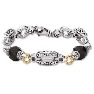 Avanti Palladium Silver and 18K Yellow Gold White Sapphire And Black Onyx Bracelet