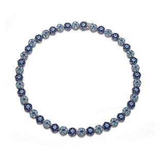 Collette Z C.Z. Sterling Silver Rhodium Plated Sapphire And Blue Topaz Flower Shape Necklace