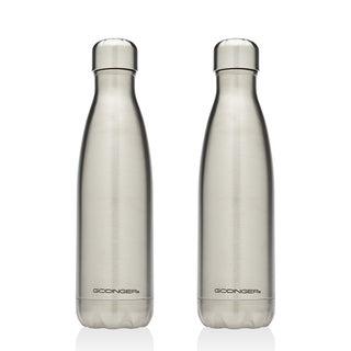 Godinger Stainless Steel 17-ounce 2-piece Water Bottle Set