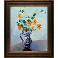 Claude Monet 'Nasturtiums in a Blue Vase' Hand Painted Framed Oil Reproduction on Canvas