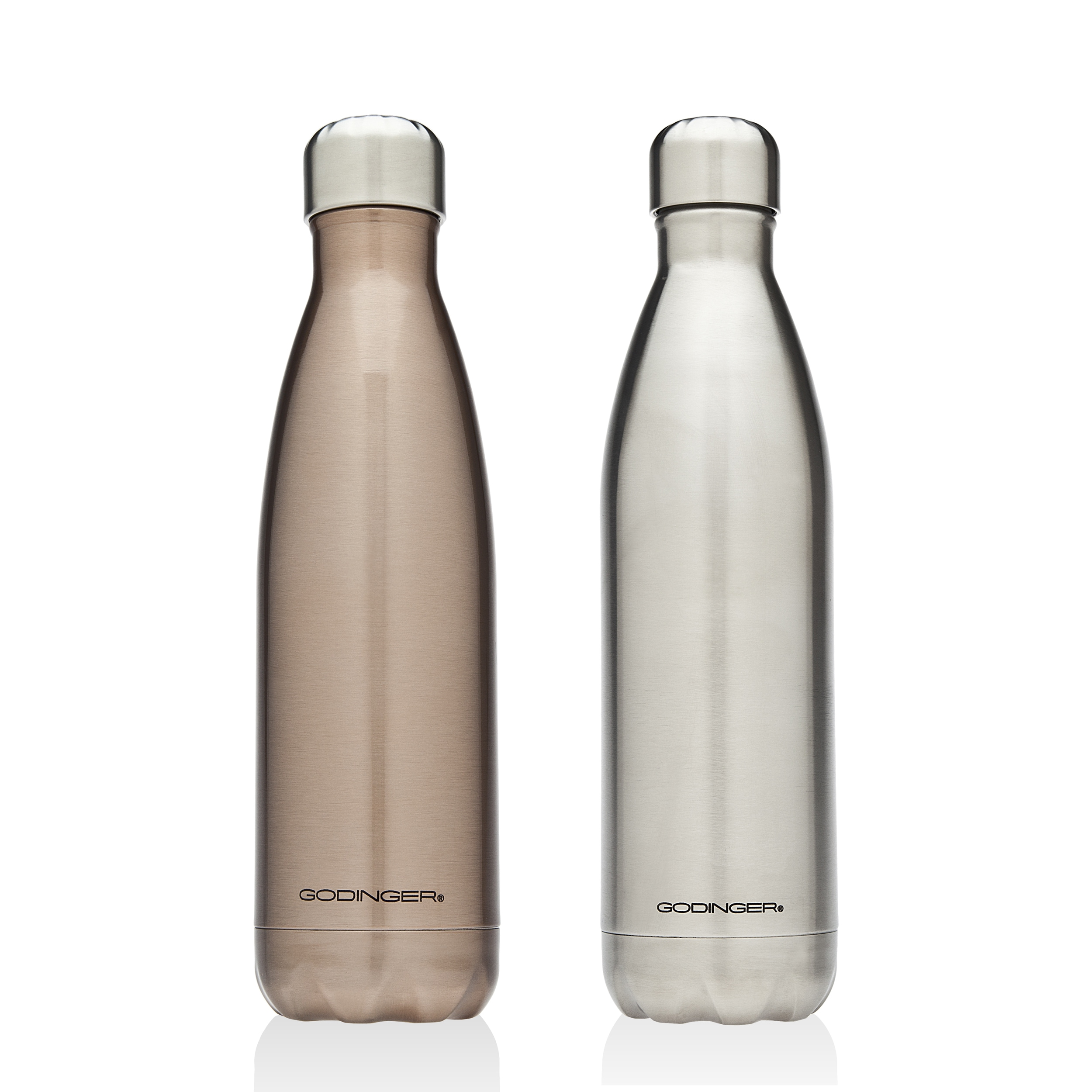 Godinger Rose Gold and Silver Stainless Steel Water Bottl...