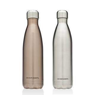 Godinger Rose Gold and Silver Stainless Steel Water Bottles (Set of 2)