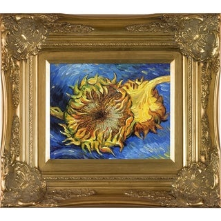 Vincent Van Gogh 'Two Cut Sunflowers' Hand Painted Framed Oil Reproduction on Canvas