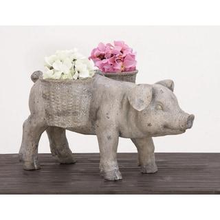 Urban Designs Happy Piggy Grey Stone Garden Planter