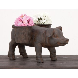 Urban Designs Happy Piggy Brown Cast Stone Planter Garden Decor