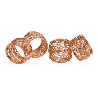 Godinger Copper/Mesh Metal Napkin Ring Set (Set of 4)