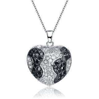 Collette Z Sterling Silver Black and Clear Cubic Zirconia Pave Heart Necklace