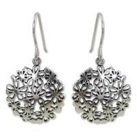 Handmade Sterling Silver 'Hydrangea' Earrings (Thailand)
