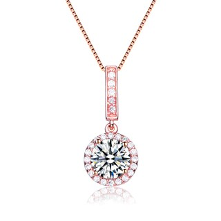 Collette Z Rose Gold Overlay Cubic Zirconia Solitaire Necklace