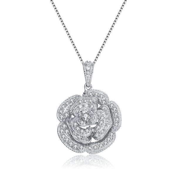 14.5mm Platinum over Sterling Silver Round Cubic Zirconia CZ in Motion Double Loop Halo Pendant Necklace with 18 inch Chain
