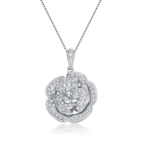 Collette Z Sterling Silver Cubic Zirconia Blooming Rose Necklace