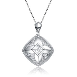 Collette Z Sterling Silver Cubic Zirconia Open Diamond-Shape Necklace
