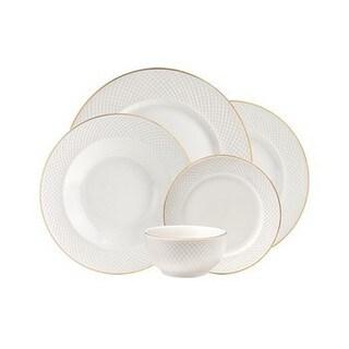 Godinger Lattucina Gold-rimmed White Porcelain Dinnerware Set (20 Pieces)
