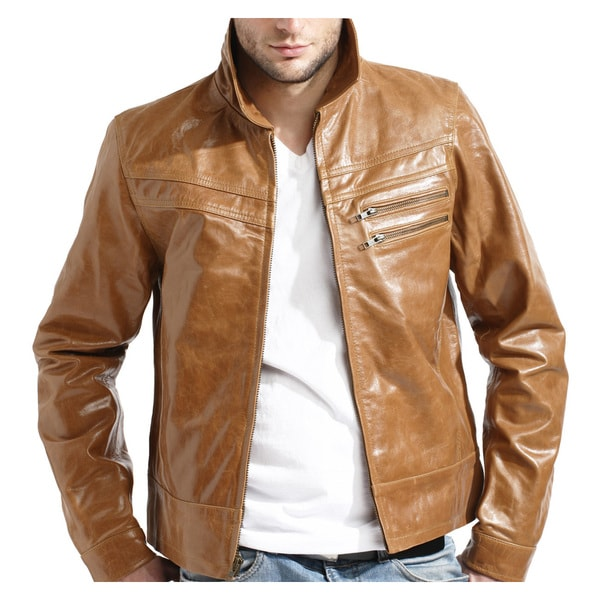 Men's Tan Zip-front Leather Jacket